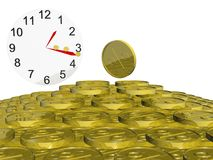 Clock and Gold Coins Royalty Free Stock Photography