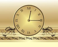 Clock and gothic ornament Royalty Free Stock Image