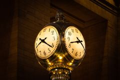 The Clock in Grand Central Station. The clock on top of the information booth in Grand Central Station, New York City Royalty Free Stock Image