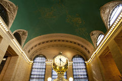 Clock in Grand Central Train Station. The clock in the main hall of Grand Central Train Station in Manhattan, New York City, at beginning of rush hour and the royalty free stock images