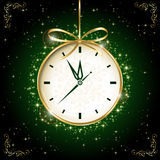 Clock on green background. Clock with bow on green background, illustration Stock Image