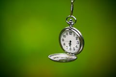 Clock on green background Royalty Free Stock Images