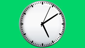 Clock on green background stock video footage