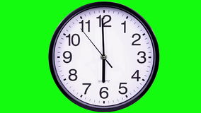 Clock on a green background 18:00. Wall clock on a green background 18:00 stock footage