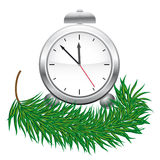 A clock and green fir branches Stock Photography