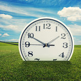 Clock in the green grass over blue sky Royalty Free Stock Photo