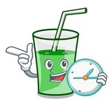With clock green smoothie character cartoon. Vector illustration stock illustration