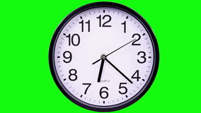 Clock on a green 18,05 TimeLapse. Wall clock on a green background 18:05 TimeLapse stock footage