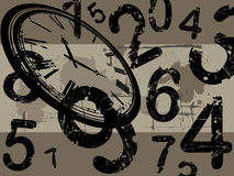 Clock with grunge background Royalty Free Stock Photo