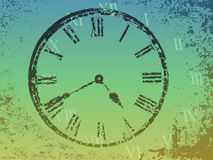 Clock in grunge background Stock Images