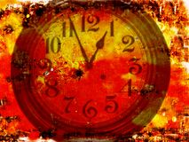 Clock on a Grunge background. Clock on a detailed grunge background with vibrant colors Stock Photos