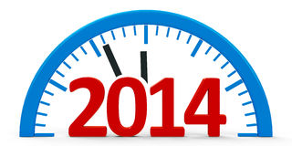 Clock 2014, half. Modern clock  on white background represents new year 2014, three-dimensional rendering Royalty Free Stock Images
