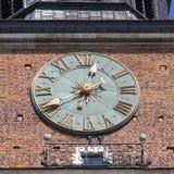Clock on Hall Tower on Main Market Square , Krakow, Poland Stock Image