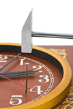 Clock, hammer and nail Royalty Free Stock Images