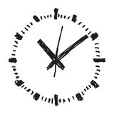 Clock hand drawn vector icon stock illustration