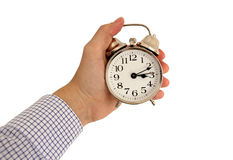 Clock in hand isolated Stock Photos