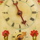 Clock with hand painted floral decoration Royalty Free Stock Photos