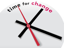 Clock hands tell Time for a change. Hands of clock point to time for change and improvement stock illustration