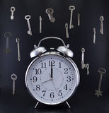 Clock with hanging keys Stock Photos