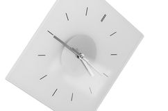 Clock isolated. Clock hanging on the wall, black and white style Stock Image