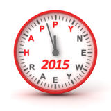 Clock with 2015 happer new year text. 3d render Stock Image