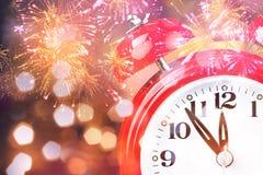 Clock. Happy midnight new year alarm background Stock Illustration