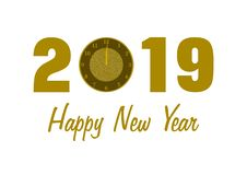 2019 with a clock and Happy New Year. 2019 in golden numbers with a clock instead of 0 and Happy New Year lettering below on white background in a landscape stock illustration