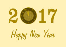 2017 with a clock and Happy New Year. 2017 in golden numbers with a clock instead of 0 and Happy New Year lettering below on a golden background in a landscape stock illustration