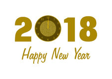 2018 with a clock and Happy New Year. 2018 in golden numbers with a clock instead of 0 and Happy New Year lettering below on white background in a landscape stock illustration