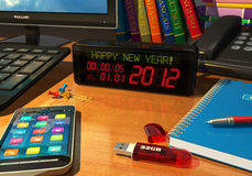 Clock with Happy New Year! message on table. Macro view of digital alarm clock with Happy New Year! message on table among other objects stock illustration