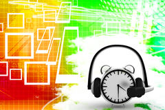 Clock With Headphone And Talk Bubble Illustration Royalty Free Stock Photos