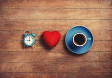 Clock, heart and cup Stock Images