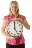 clock holding woman Στοκ φωτογραφία με δικαίωμα ελεύθερης χρήσης