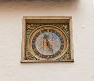Clock (1684) of Holy Spirit church in Tallinn, Estonia Royalty Free Stock Photo