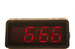 Clock with 666 hour. Electronic clock with 666 numbers Stock Image