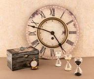 Clock, Hourglassess, Wristwatch, and Pocketwatch Stock Image
