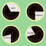 Clock hours, time of day morning, afternoon, evening, night. Watch cycle icon, day and night. Vector illustration Stock Photo