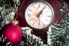 Clock and hristmas background Stock Image
