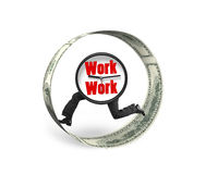 Clock with human legs running in money circle Royalty Free Stock Photography