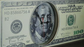 The clock on the hundred dollar bill.