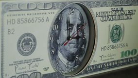 The clock on the hundred dollar bill. stock video footage