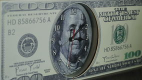 The clock on the hundred dollar bill. stock footage