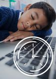 Clock icon against office kid boy sleeping background. Digital composite of Clock icon against office kid boy sleeping background Royalty Free Stock Images