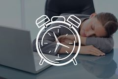 Clock icon against woman sleeping photo Royalty Free Stock Photo