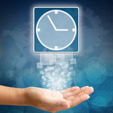 Clock icon on business hand Royalty Free Stock Images