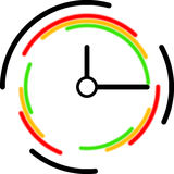 Clock icon with colorful circles Stock Images