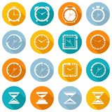 Clock icon flat set Royalty Free Stock Photos