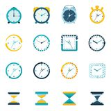 Clock icon flat set Royalty Free Stock Photography