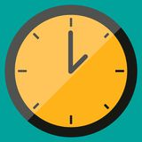 Clock icon in flat style, timer on blue background. Business watch. Vector design element for you project vector illustration