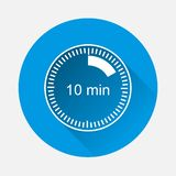 A clock icon indicating the time span of 10 minutes on blue back. Ground. Flat image time span is ten minutes with long shadow. Layers grouped for easy editing royalty free illustration
